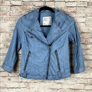 American Eagle Chambray Moto Blazer Jacket Blue